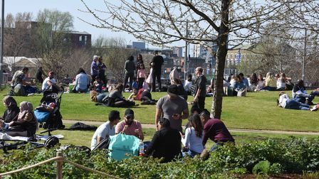 People picnicking in the Queen Elizabeth Olympic Park on Easter Sunday