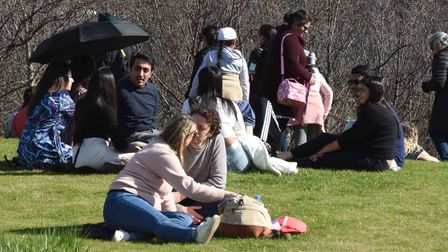 The good weather draws the crowds out to the Queen Elixabeth Olympic Park on Easter Sunday