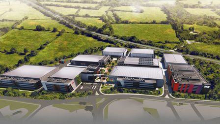 Currently under construction, an artist's impression of  how Sky Studios Elstree will look when completed.