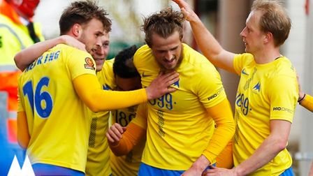 Goal celebration by Torquay United player Sam Sherring during the National League Match between Wrex
