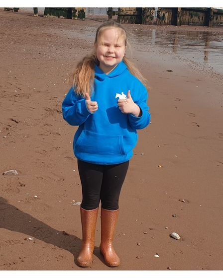 Young girl on sponsored walk