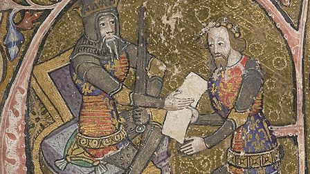 Edward, the Black Prince, who was born at Woodstock Palace, receiving the grant of Aquitaine from his father, King Edward III