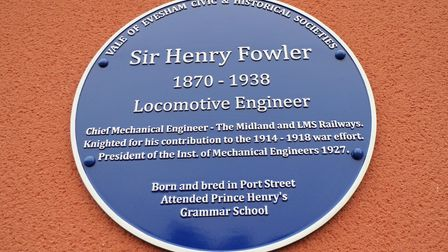 Blue plaque to Sir Henry Fowler on the old Midland station in Evesham. Fowler was born and brought up in the town