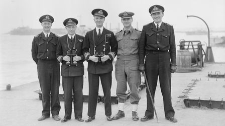 Rear-Admiral William Tennant (centre) with his officers, Arromanches, Normandy, July 1944