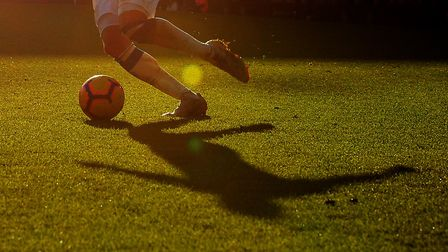 The shadow of an Everton player during the Premier League match at Goodison Park, Liverpool. Picture