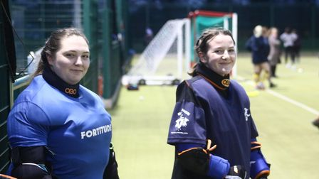 St Neots Hockey Club goalkeepers Jo-Jo White and Amy Harley
