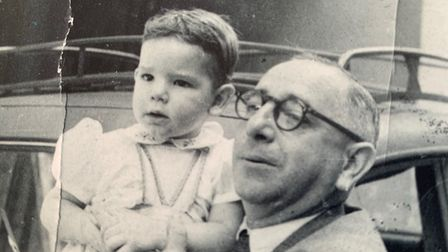 Patrice Saiman aged four in 1952 with his father Raoul