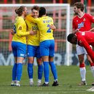 Goal scorer Sam Sherring celebrates at the final whistle of the match between Wrexham and Torquay United on Easter Monday.