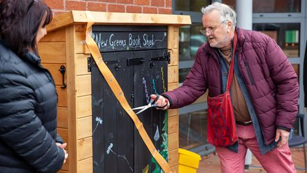 John Mole officially opens the New Greens Book Shed.