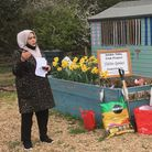 Farhat Zia, co-founder of HAWA presenting the tribute at the memorial by the Habiba Garden