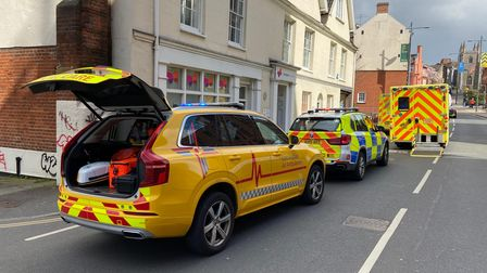 Emergency services in St Andrew's Street in Norwich following reports of incident.