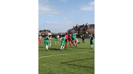 Worle FC in action against St George Easton in Gordano