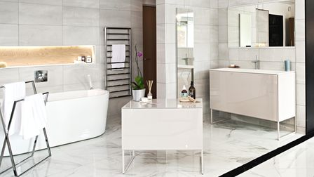 White and cream veined marble bathroom design at Ripples Bathrooms in Chelmsford