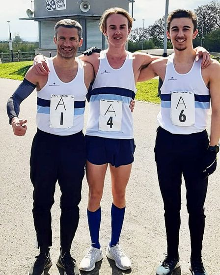 Paul Grange, Jack Wright and Bradley Deacon at The Chingford League race