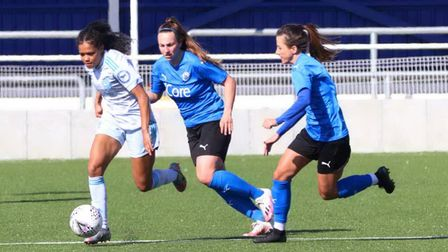 Billericay Town Women in action against Ipswich Town in the FA Cup at the New Lodge