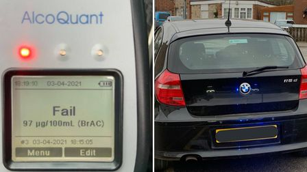 The uninsured drink-driver was stopped by police in Wisbech on Saturday evening (April 3).