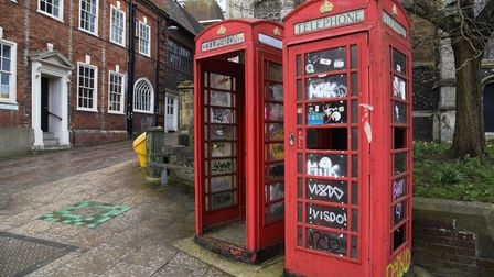 The phone boxes on St Andrews Street which are up for sale. Picure: Danielle Booden