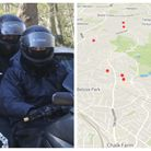 Two moped robbers opposite a map showing some areas targeted by the gang they were part of