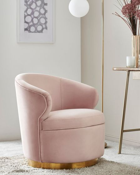 Elinore Gold Swivel Base Accent Chair, Next.