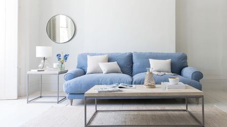 Slow Coach Sofa in Nordic Blue Brushed Cotton, Loaf.