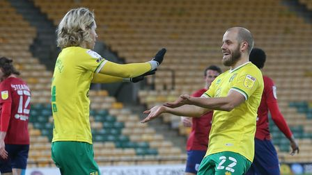 Teemu Pukki of Norwich celebrates scoring his sides 1st goal during the Sky Bet Championship match a