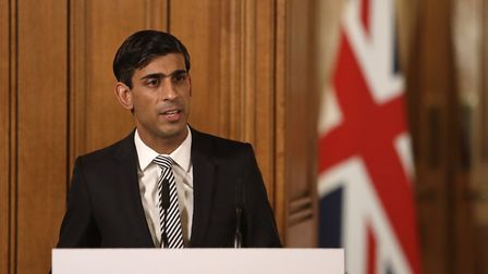 Chancellor Rishi Sunak speaking at a media briefing in Downing Street, London, on Coronavirus (COVID