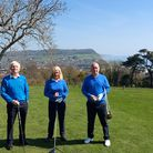 Sidmouth Golf 2021 Captain's prior to Drive in - l to r; Phil Spencer (seniors), Mo Kendall ( ladies), Jonathan Lee (men's)