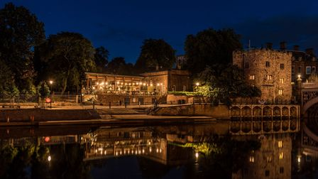 The Star Inn the City, York lights shining by the riverside