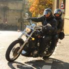 Rev Robb Sutherland, Vicar of Mixenden and Illingworth, on his Harley as Vicars on motorbikes from t