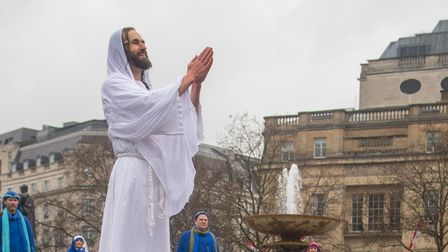 James Burke-Dunsmore as Jesus in the Good Friday performance of the Passion of Jesus, staged by the