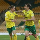 Jordan Hugill of Norwich celebrates scoring his sides 7th goal during the Sky Bet Championship match