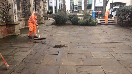 Ipswich Borough Council has been out cleaning the town centre