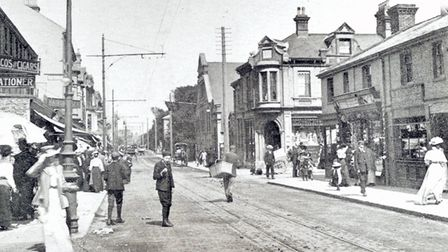 London Road South in Lowestoft during the days of the trams, circa 1905.