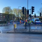 Workers at the junction of Church Lane and Hornsey High Street