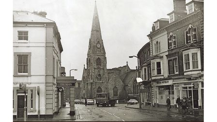 London Road South with St John's Church shortly before its demolition in 1977.