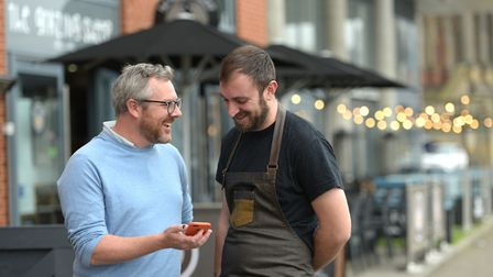 Ewan Phillips with Julian Bisbal, Chef Patron from The Grazing Sheep, which is one of the first rest