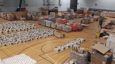 The team delivered more than 3,000 food packagaes
