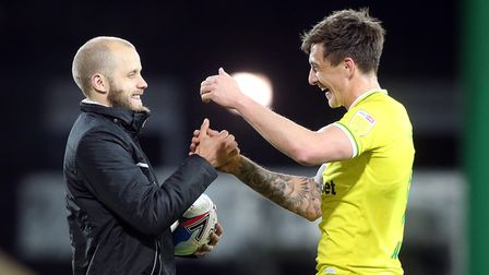 Teemu Pukki of Norwich with the match ball and Jordan Hugill of Norwich at the end of the Sky Bet Ch