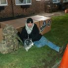 Former soldierJamie Hall who works atHickathriftHouse care home in Wisbech has been sleeping rough for charity