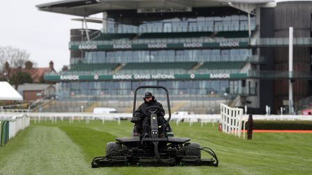 The grass on the course is cut as preparations are made for the 2021 Randox Health Grand National