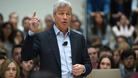 James Dimon, president and chief executive officer of JPMorgan Chase, speaks during a visit by Chanc