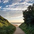 HWBP48 Path leading down to Hunmanby sands on a beautiful morning. Filey Bay, North Yorkshire, Engla