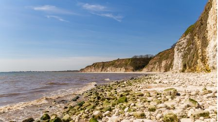 North sea coast with stones and cliffs of Danes Dyke near Bridlington, East Riding of Yorkshire, UK
