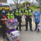 British Transport Police officers deliver Easter eggs to NHS staff.