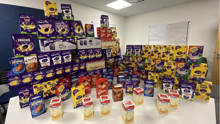Easter eggs and other donated treats arranged a table