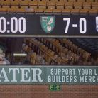 The Carrow Road scoreboard tells the story at the end of Norwich City's hammering of Huddersfield
