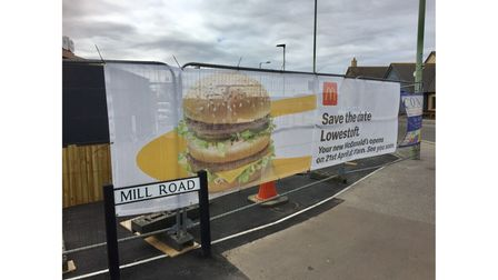 Further branding and signage at the site of the new McDonald's in Lowestoft.