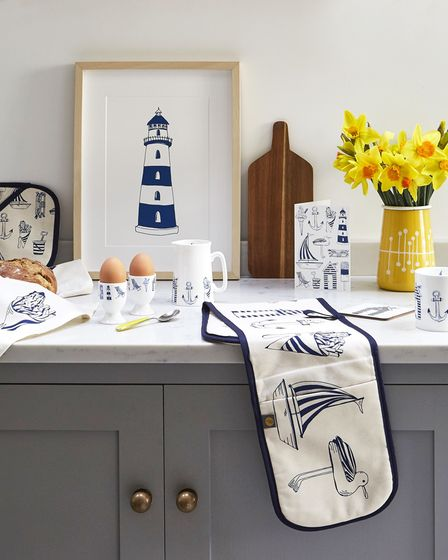 Nautical seaside collection, egg cups and other items from a selection, Victoria Eggs.
