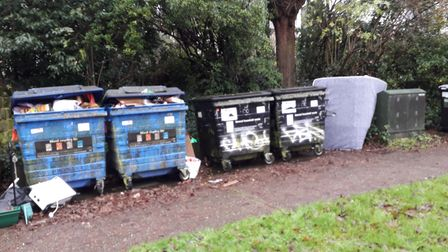 Overflowing bins at West Pottergate in Norwich