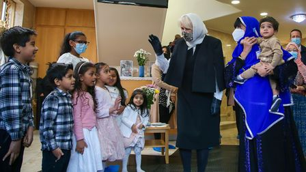 The duchess interacting with children at Wightman Road Mosque